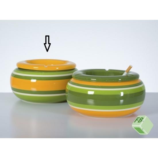 Aardewerk asbak geel/groen 23 cm