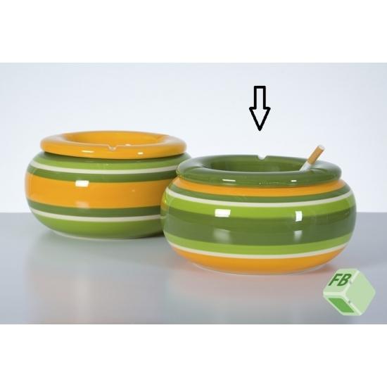 Aardewerk asbak groen/geel 23 cm