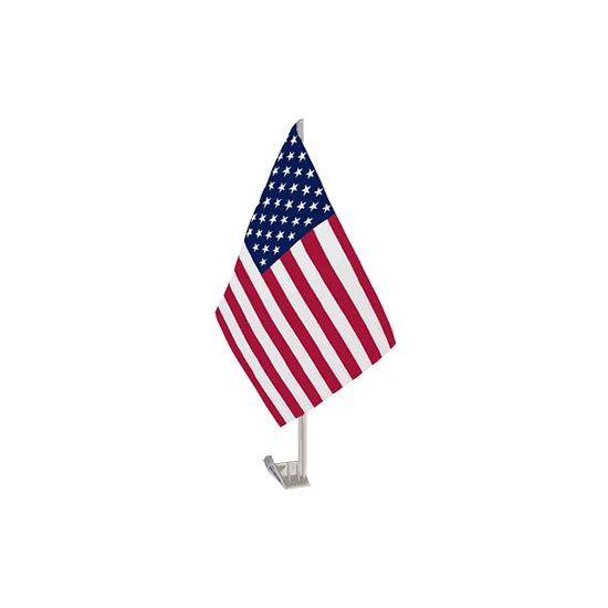 Amerika autoraamvlaggen. plastic standaard met een polyester usa of ...