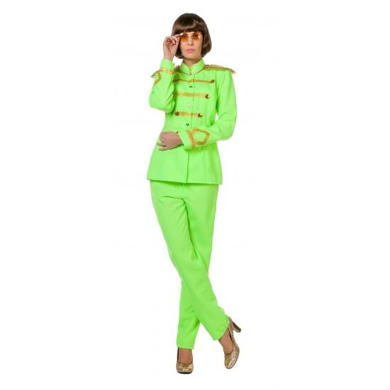 Beatles album neongroen Sgt Pepper kostuum voor dames FopartikelenWinkel