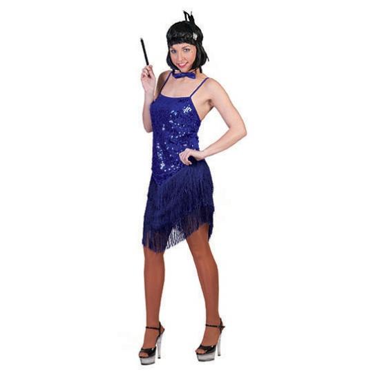 Blauw twenties jurkje met glitter en franje
