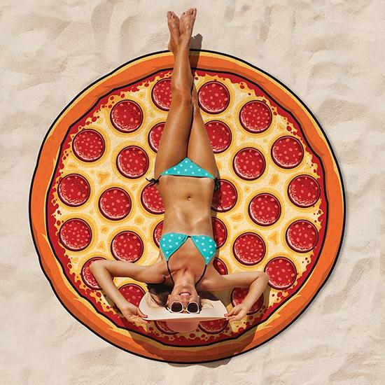 Cartoon pizza handdoek rond 150 cm