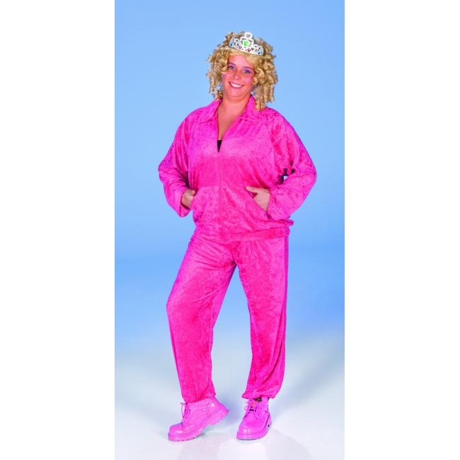 Dames pak met fluweel look fel roze FopartikelenWinkel