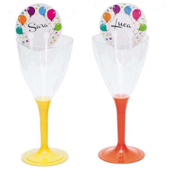 Glas decoratie naamplaatje met ballonnen 12 stuks