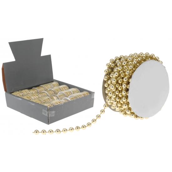 Gouden kralenslinger 5 mm. goudkleurige parelketting voor bijvoorbeeld in de kerstboom. de pareltjes hebben ...