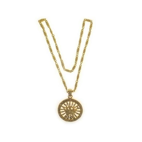 Gouden bling bling ketting met kroon. grove goudkleurige ketting met een kroon en diamantjes als hanger....