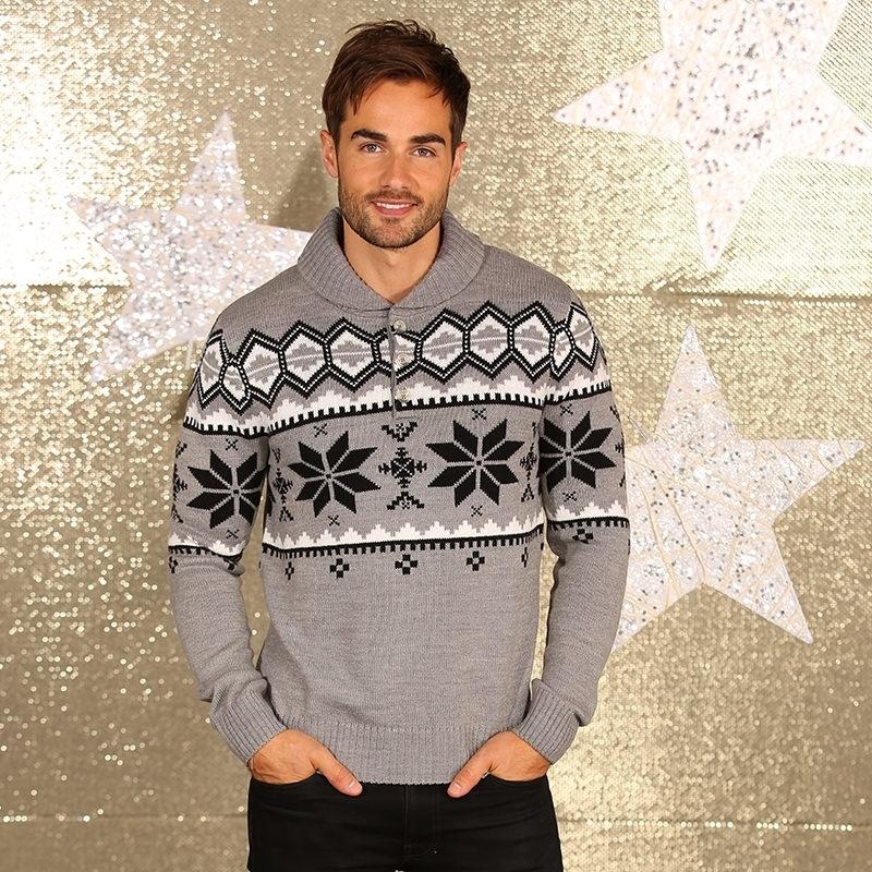 Grijze winter sweater met sjaalkraag