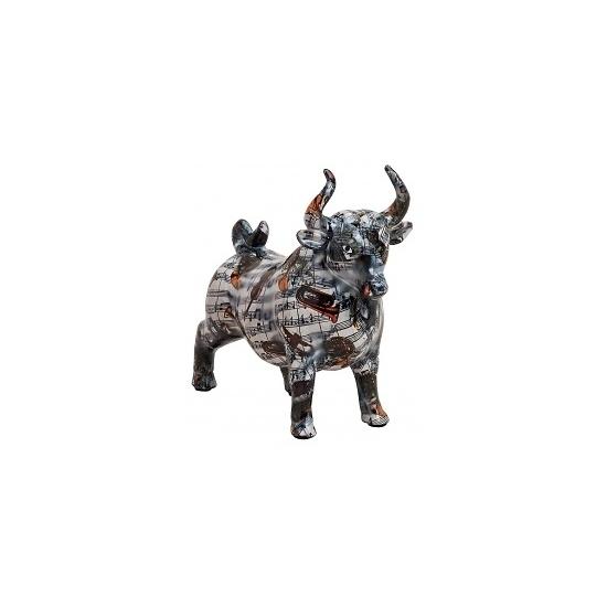 Keramische stier spaarpot zwart
