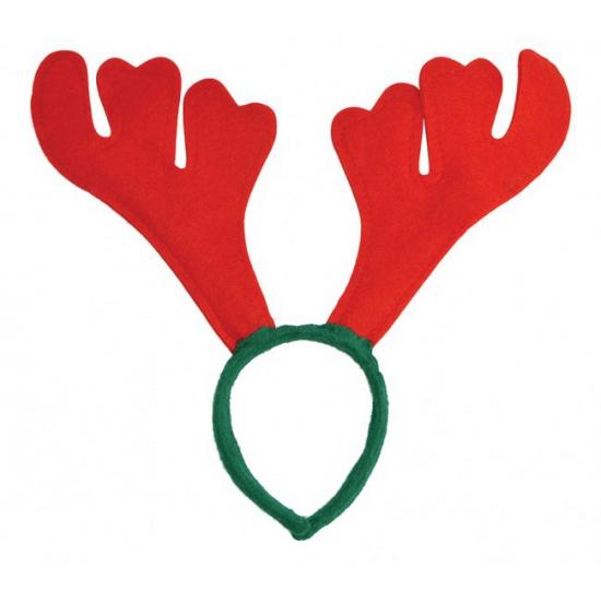 Rendier diadeem rood met groen. kerst diadeem van vilt met een groene haarband en rood gewei.