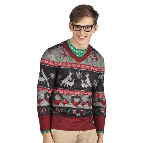 Kerst t-shirt met rendieren print