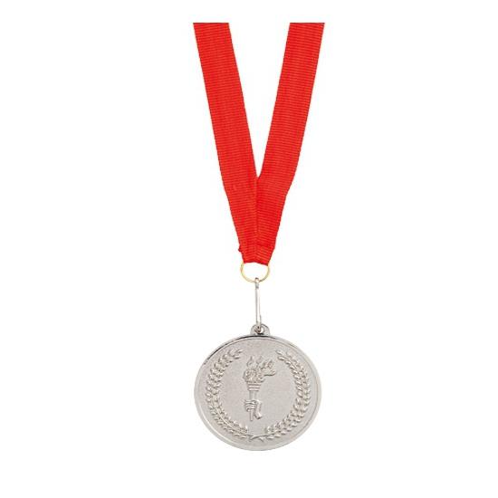 Medaille zilver gekleurd met halslint