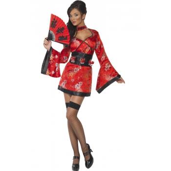 Rood Japans jurkje met shotglas riem Smiffy