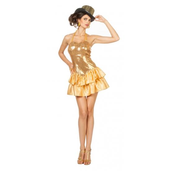 Sexy halterjurkje met gouden pailletjes voor dames