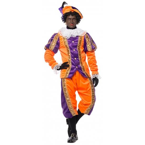 Sinterklaas Deluxe pieten kostuum paars met oranje FopartikelenWinkel