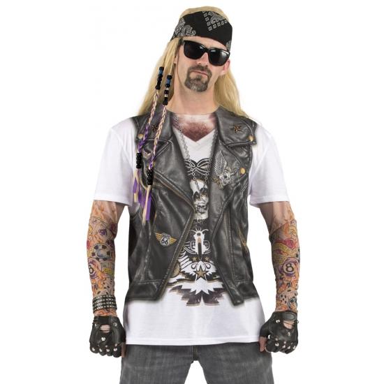 T-shirt met bikerman opdruk FopartikelenWinkel