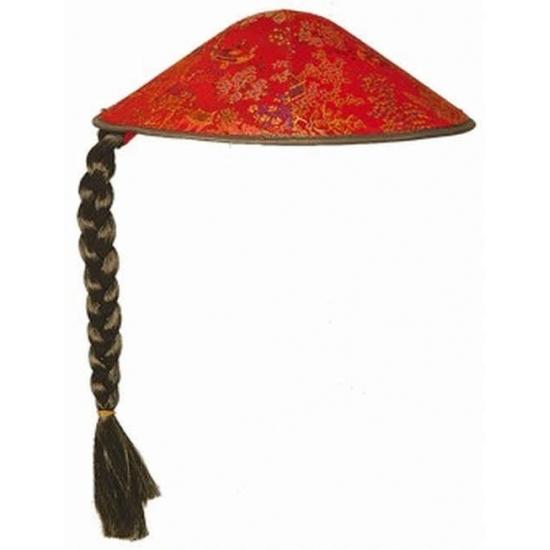 Vietnamese hoed rood met vlecht