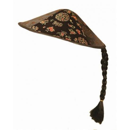 Vietnamese hoed zwart met vlecht