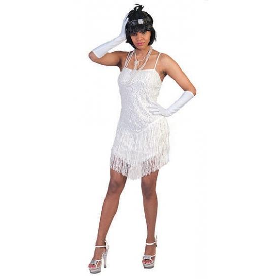 Wit twenties jurkje met glitter en franje