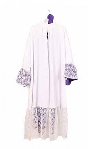 Witte Sinterklaas habijt met paarse broek FopartikelenWinkel