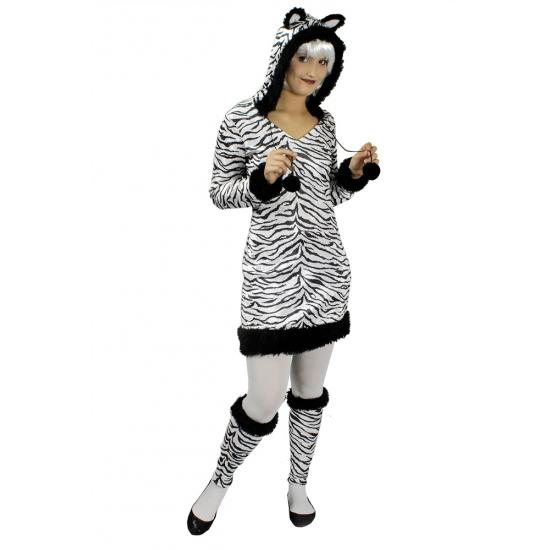 Zebra kostuum voor dames met beenwarmers