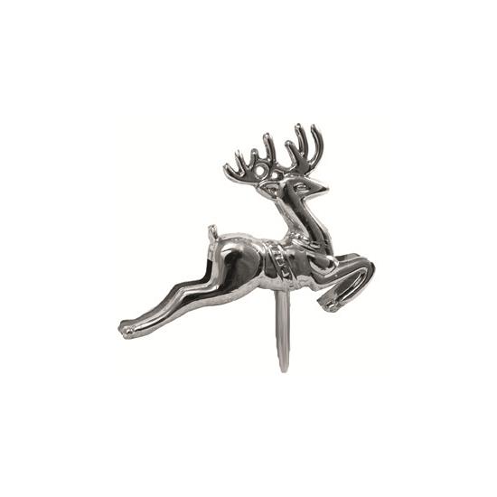Zilveren rendieren op stekers. setje van 6 stekers met een zilveren rendier. leuk voor in een kerststukje of ...