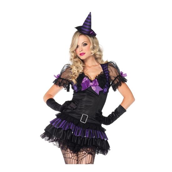 Zwart heksen kostuum met hoedje Leg Avenue