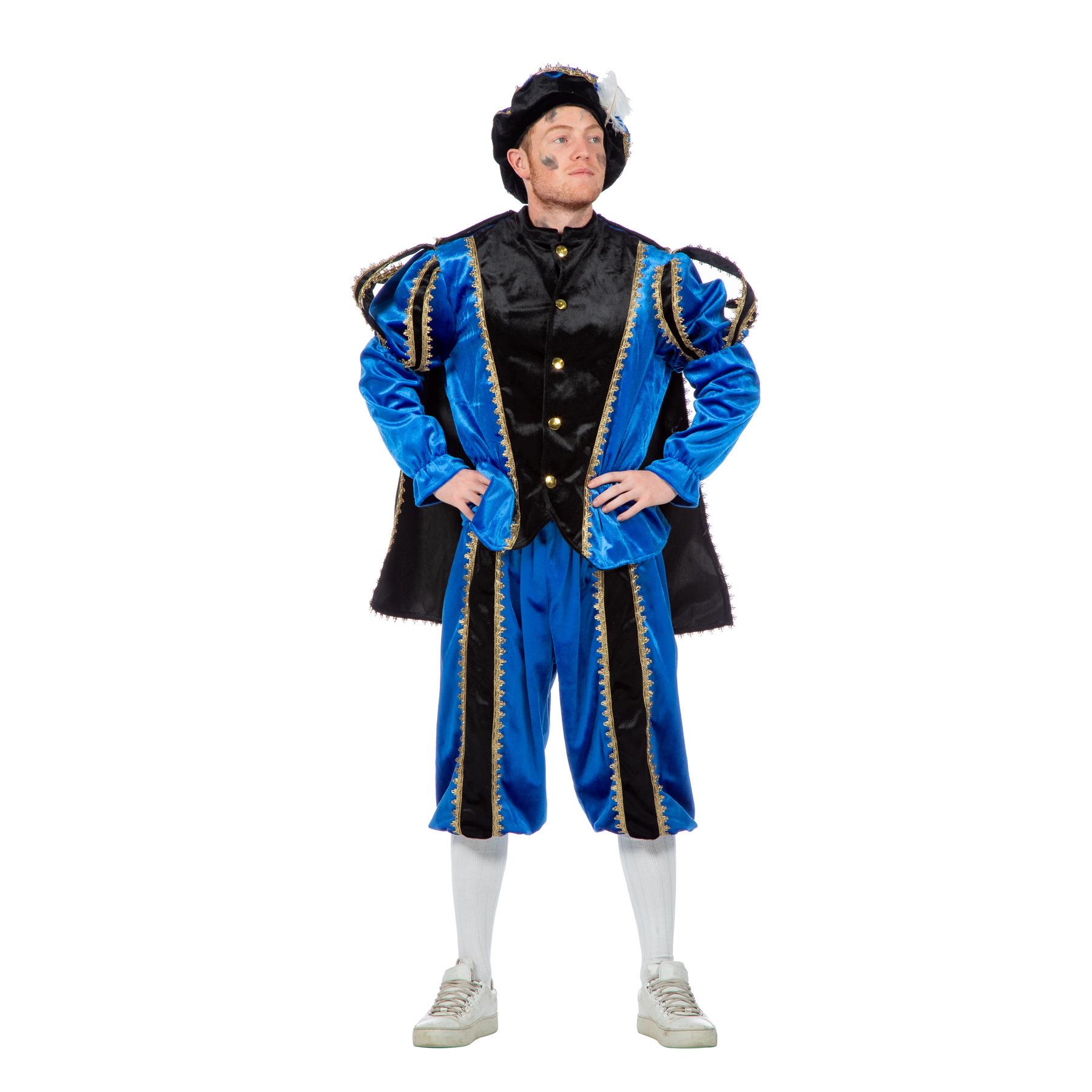 Zwarte Piet pak blauw met zwart FopartikelenWinkel