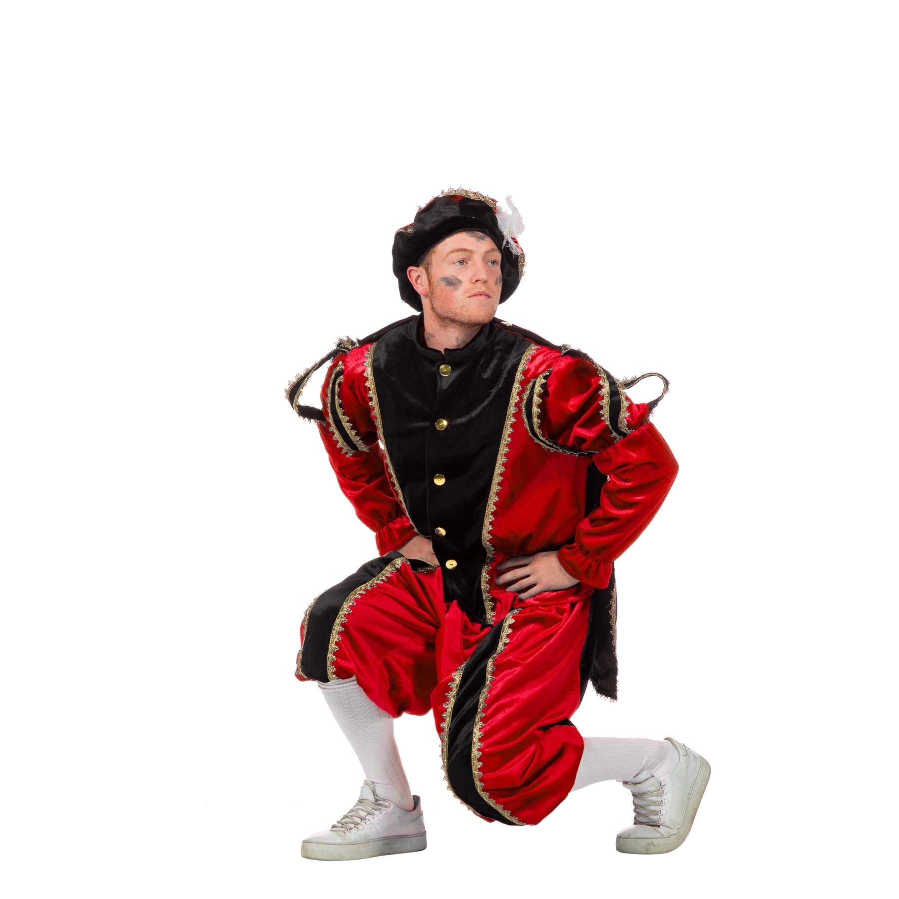 Zwarte Pieten kostuum rood+zwart FopartikelenWinkel