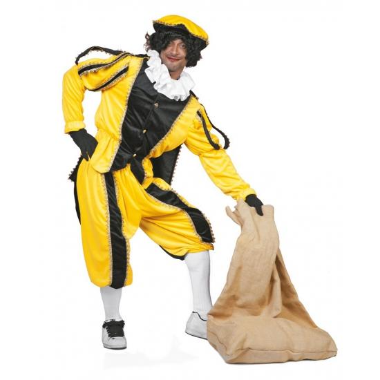 Zwarte pietenpak luxe geel zwart FopartikelenWinkel