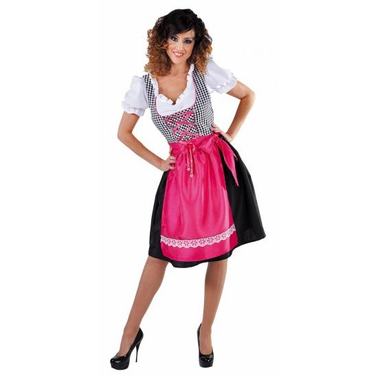 Zwarte sexy dirndl met roze schort voor dames FopartikelenWinkel