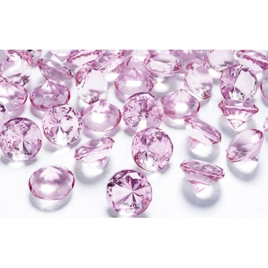 10 diamanten lichtroze 2 cm