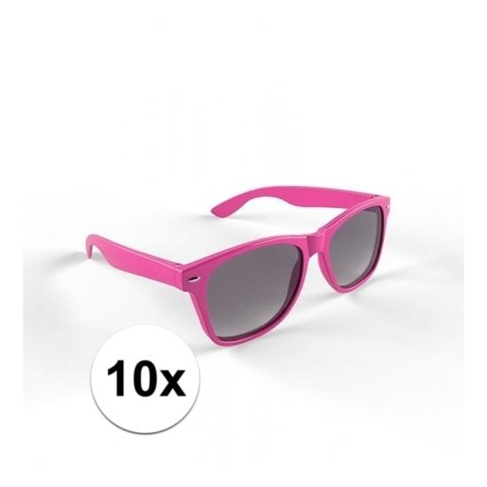 10x Hippe zonnebril roze montuur voor volwassenen