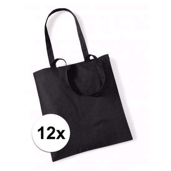 12x Promotie tasjes zwart katoen 42 x 38 cm