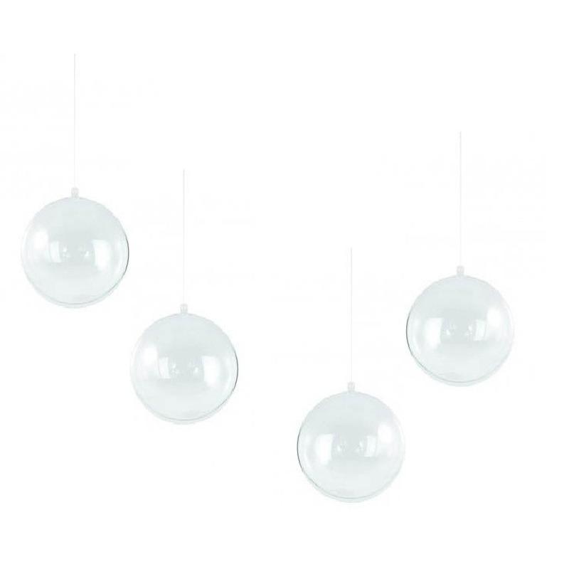 12x Vulbare kerstballen transparant 14 cm