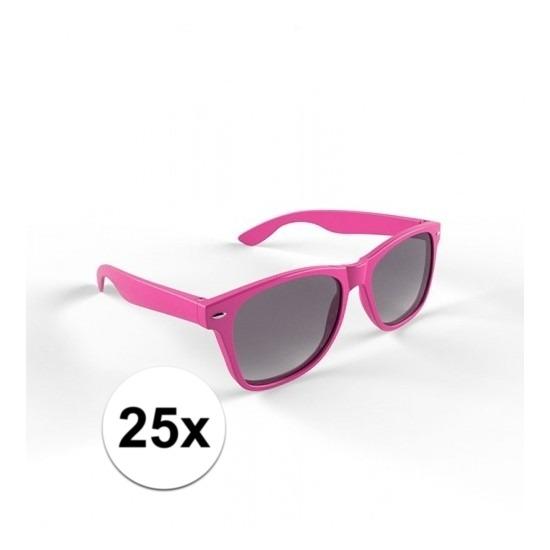 25x Hippe zonnebril roze montuur voor volwassenen