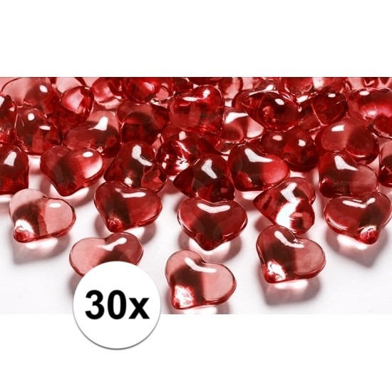 30 hart diamanten rood 2 cm