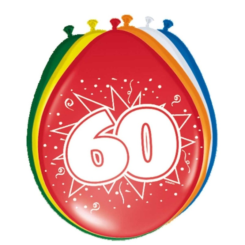 8x stuks Ballonnen 60 jaar 30 cm