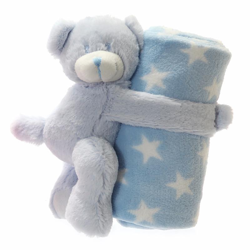 Baby geboorte cadeau blauw beer en dekentje