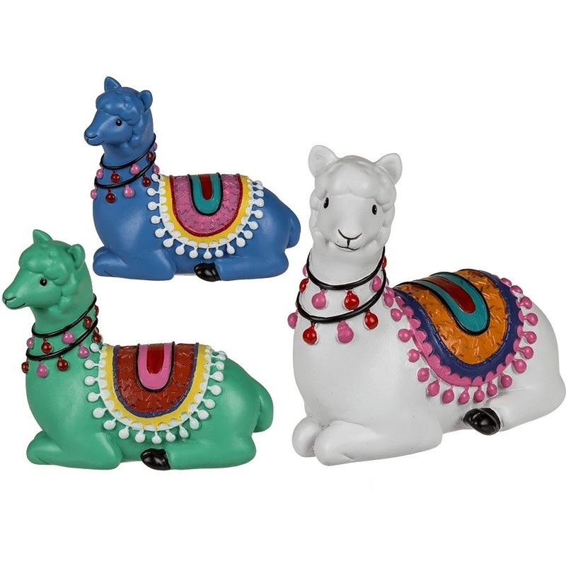 Blauwe liggende alpaca-lama beeldje 9 cm