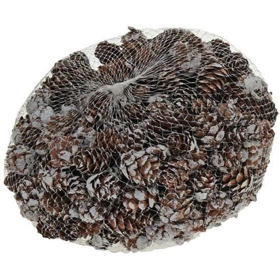 Decoratie dennenappels bruin-sneeuw 3 cm