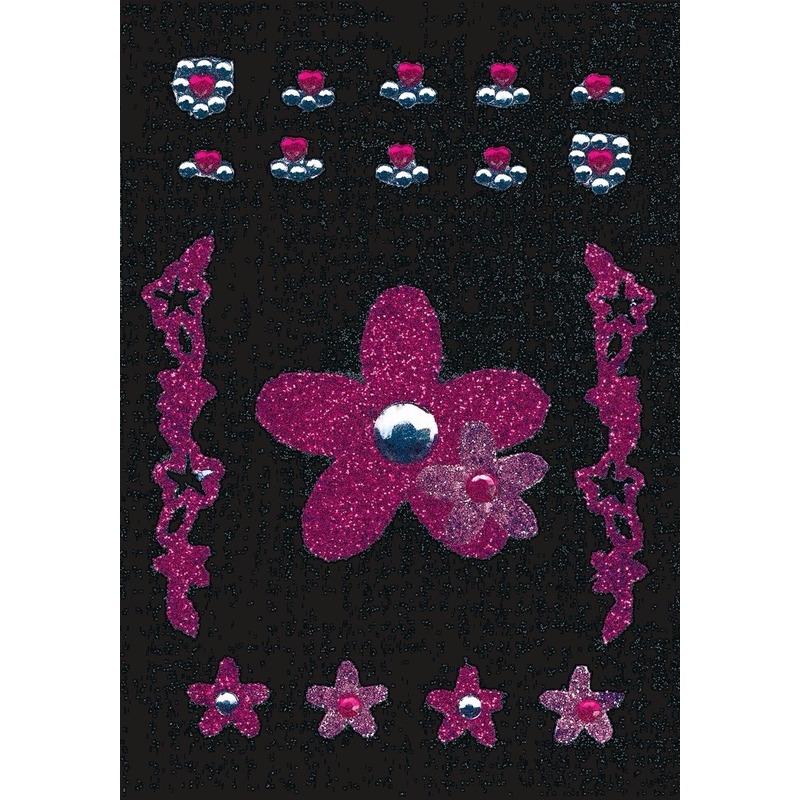 Decoratie glitter stickers bloem