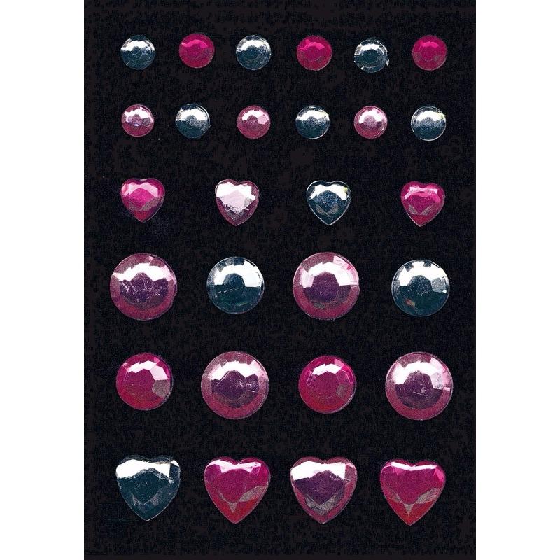 Decoratie glitter stickers in rose en zilver