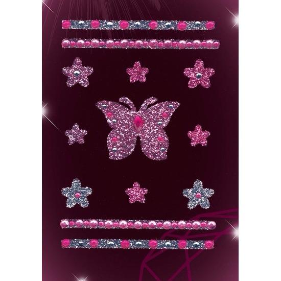 Decoratie glitter stickers vlinders