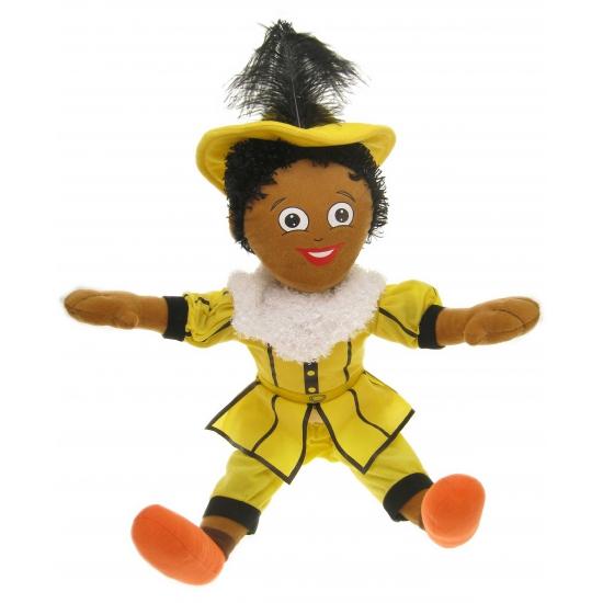 Decoratie zwarte Piet pop geel