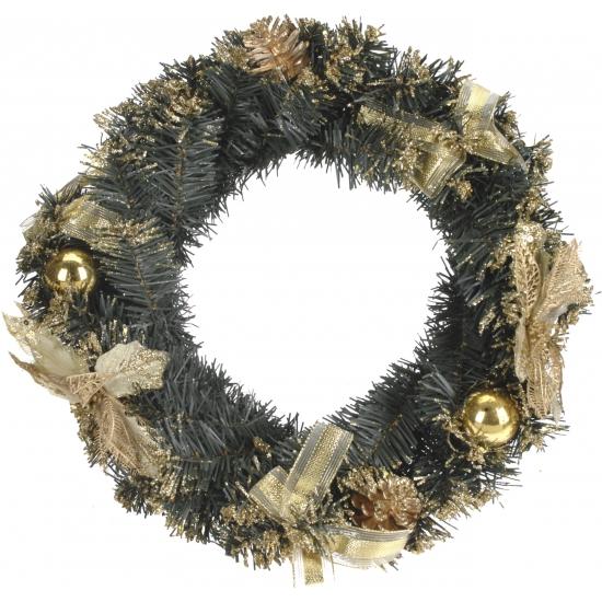 Deurkrans gouden kerstdecoratie 40 cm