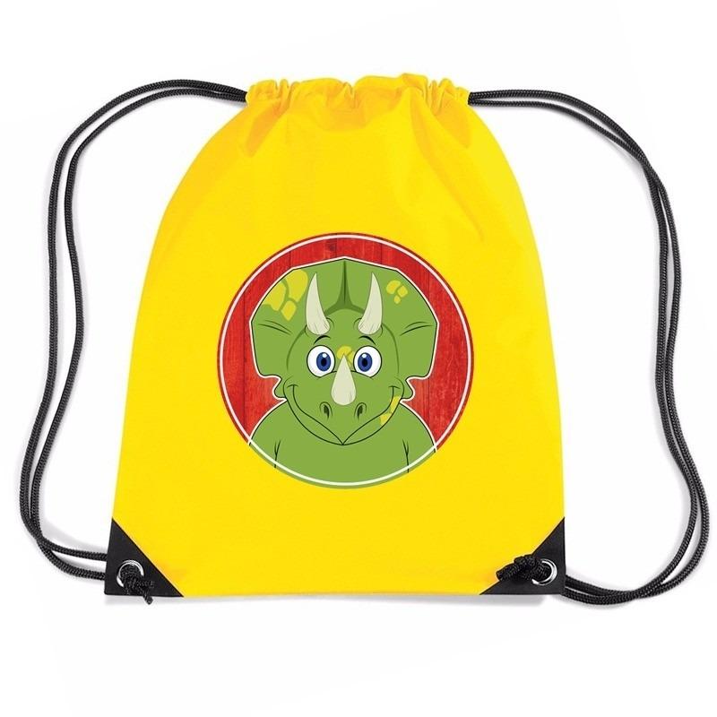 Dinosaurus rugtas / gymtas geel voor kinderen