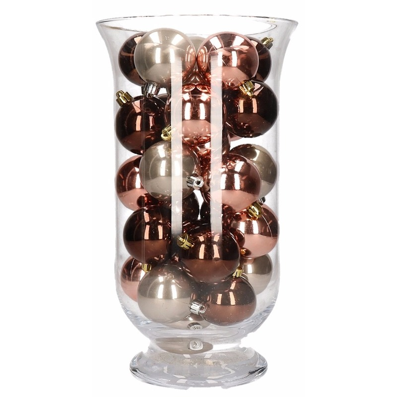DIY kerstdecoratie vaas met roze glamour kerstballen