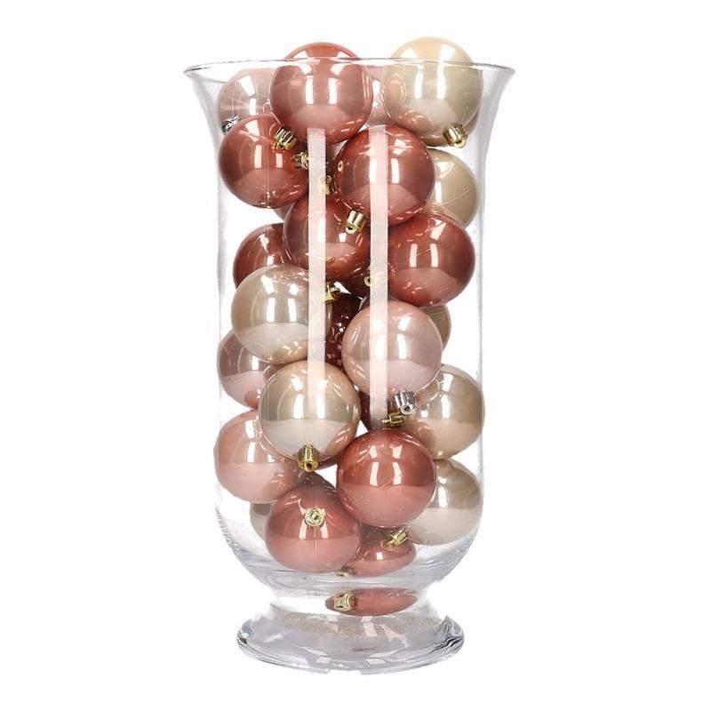 DIY kerstdecoratie vaas met roze mix kerstballen