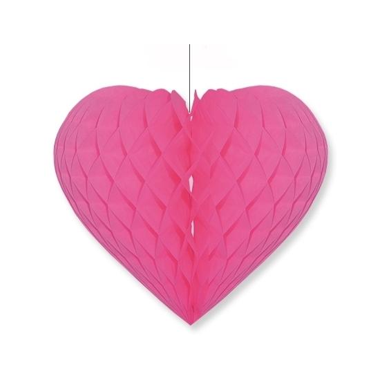 Etalage decoratie hart fuchsia roze 15 x 18 cm