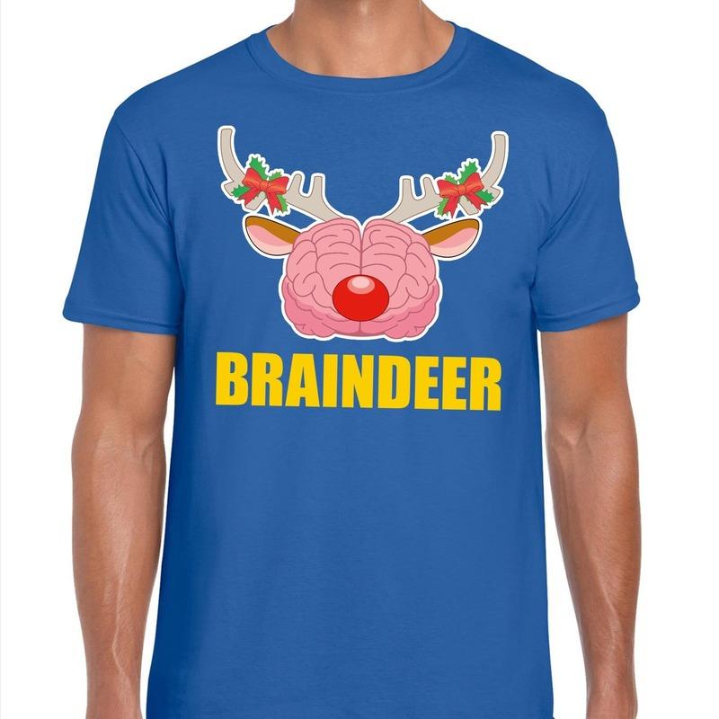 Foute Kerst t-shirt braindeer blauw voor heren